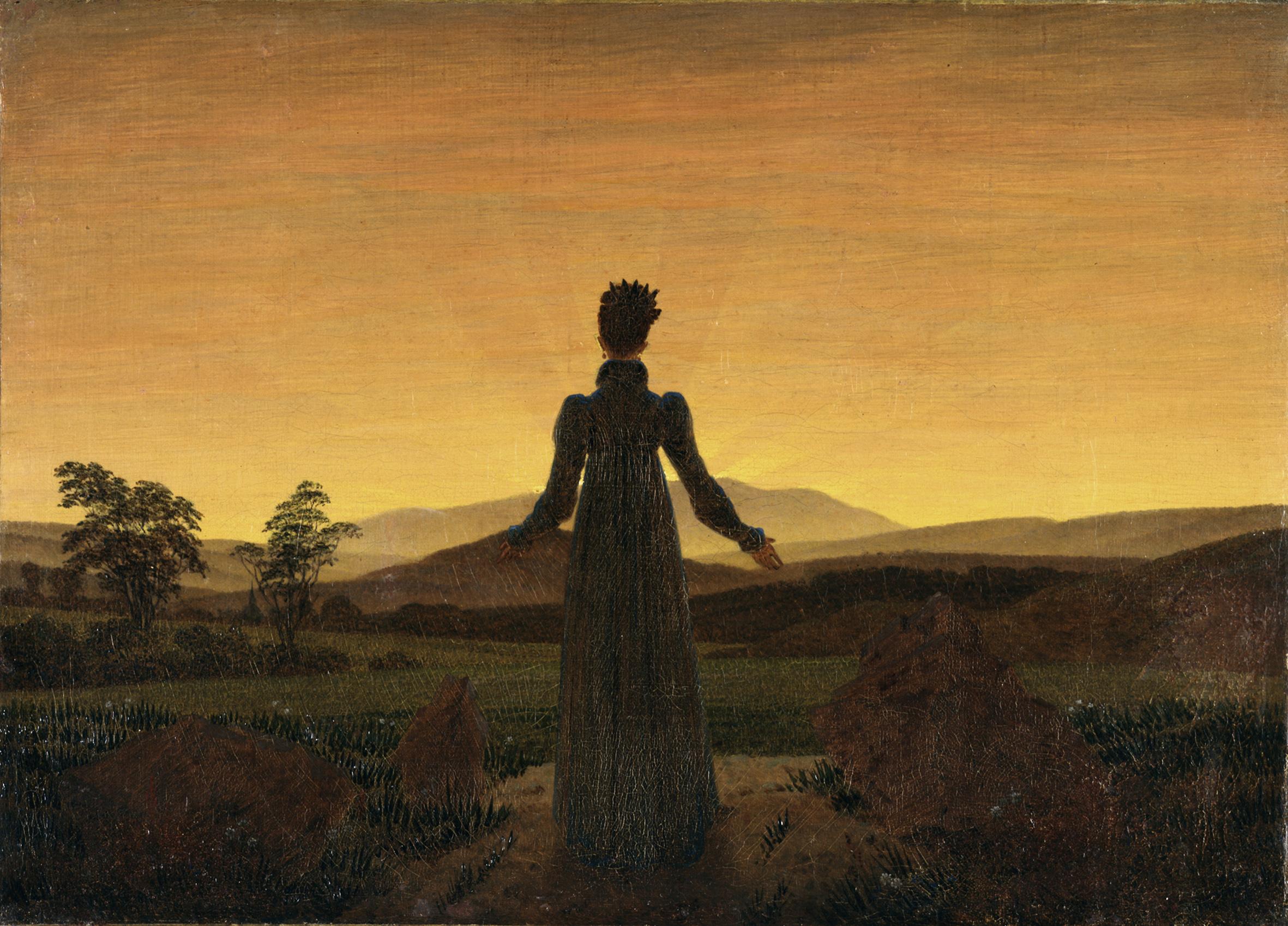 Femme devant le coucher de soleil, de Caspar David Friedrich