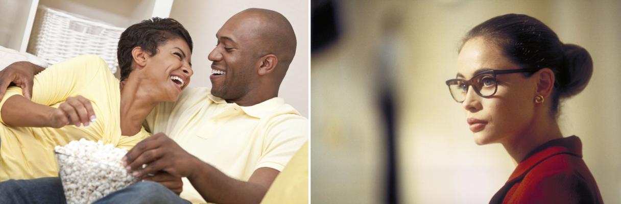 Montage : sur l'image de gauche (1a), photo de deux personnes en train de rire et sur l'image de droite (1b), photo l'actrice Emmanuelle Béart, stoïque