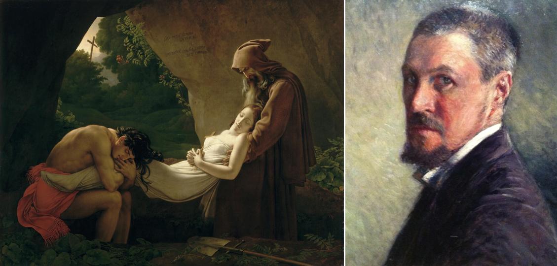 Montage : sur l'image de gauche (1a) le tableau Atala au tombeau, d'Anne-Louis Girodet et sur l'image de droite (1b), l'autoportrait de Gustave Caillebotte