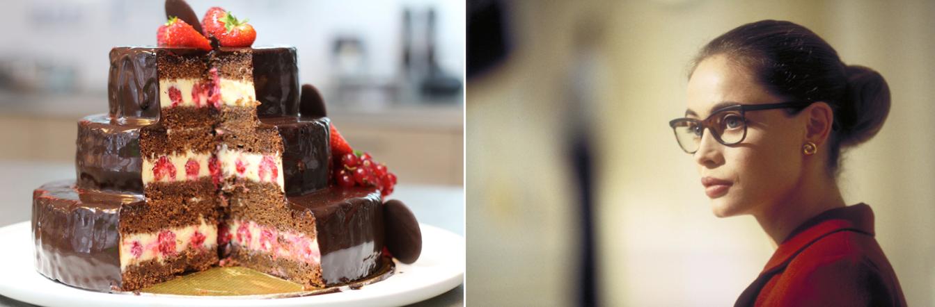 Montage : sur l'image de gauche (2a), photo d'un gâteau et sur l'image de droite (2b), photo l'actrice Emmanuelle Béart, stoïque