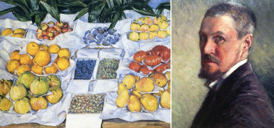 Montage : sur l'image de gauche (1a) le tableau Fruits sur un étalage, de Gustave Caillebotte et sur l'image de droite (1b), l'autoportrait de Gustave Caillebotte