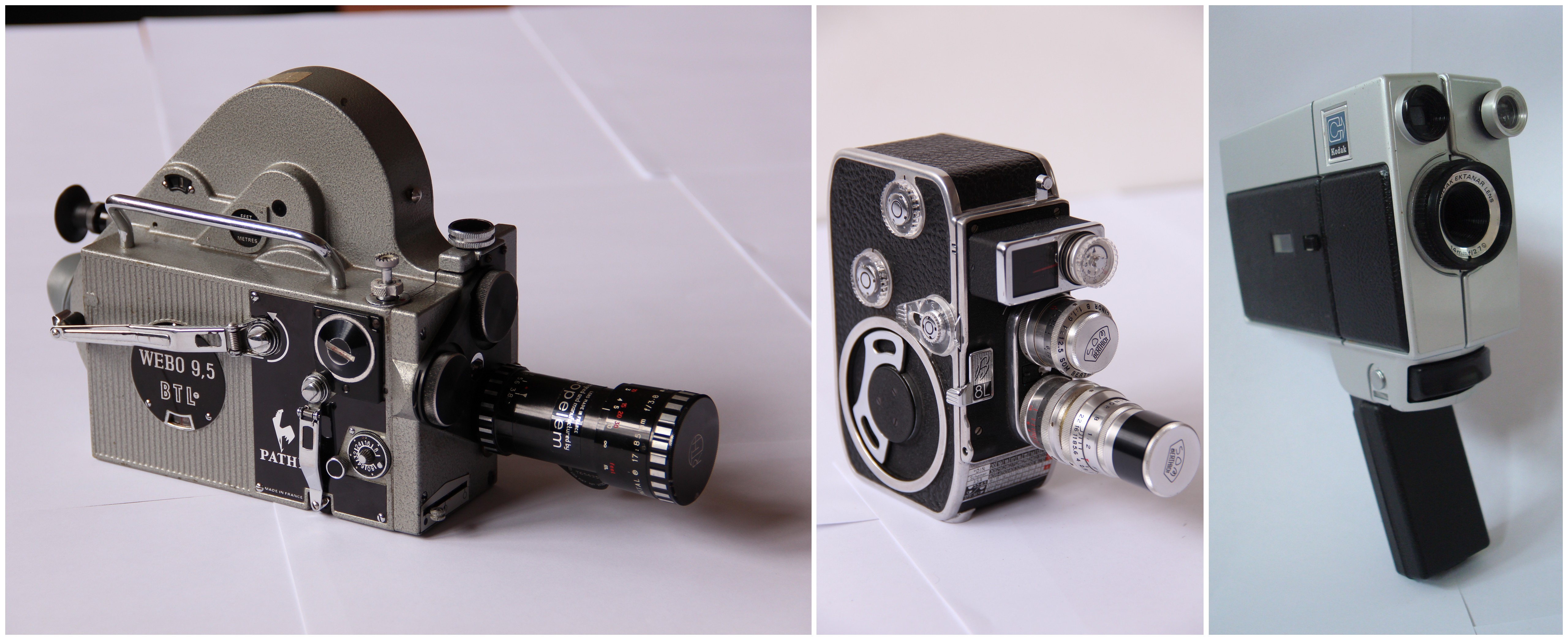 Caméras 9,5 mm Pathé Wébo, 8 mm Paillard Bolex B8 et Super 8 Kodak © Ciclic Mémoire