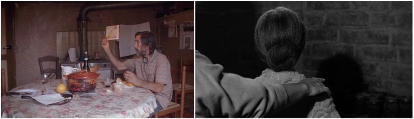 """Photogramme extrait des films """"Mic Jean-Louis"""" de Kathy Sebbah et """"Psychose"""" d'Alfred Hitchcock"""