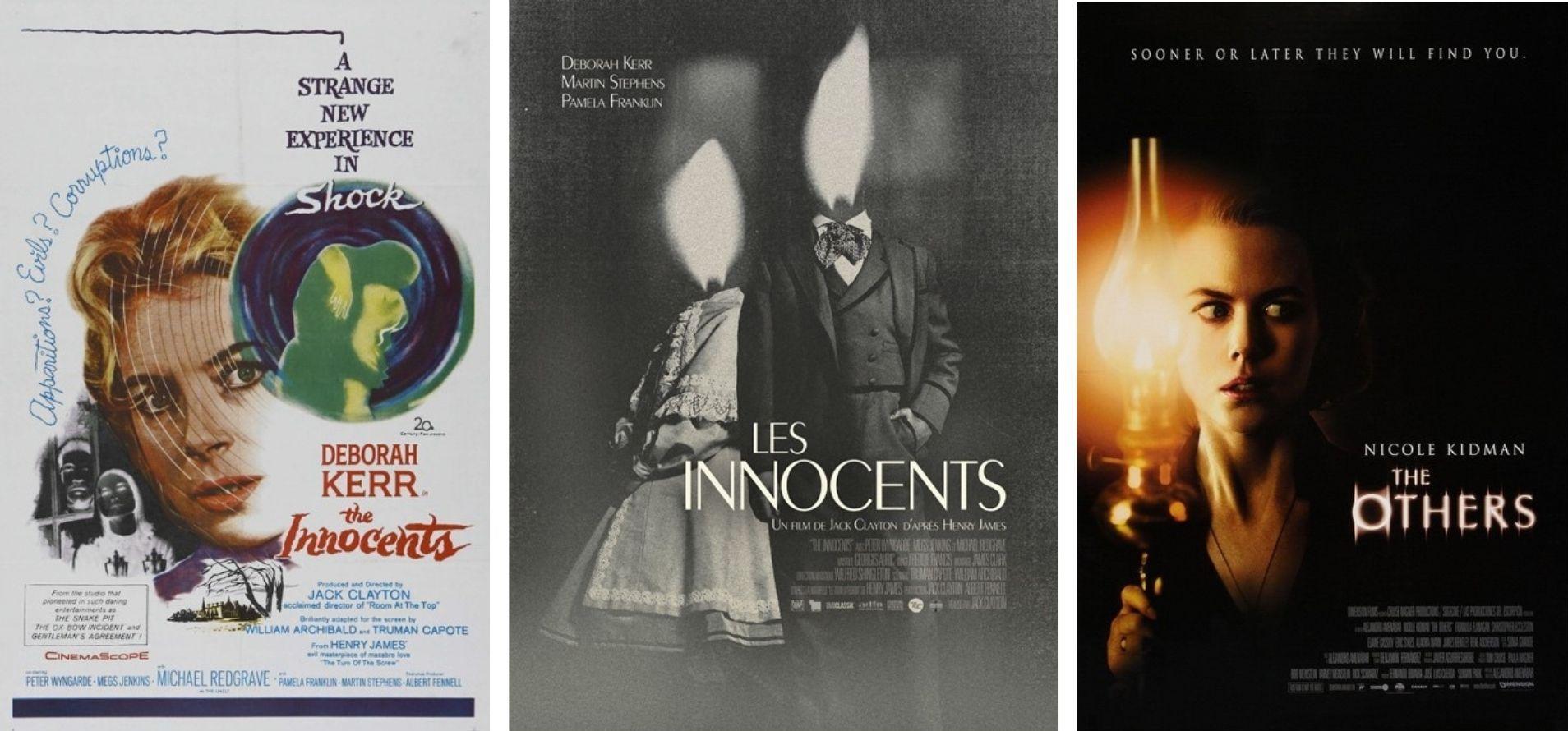 ill.3 L'affiche américaine d'époque des Innocents, celle de sa réédition et celle des Autres, film très influencé par le chef-d'œuvre de Clayton.