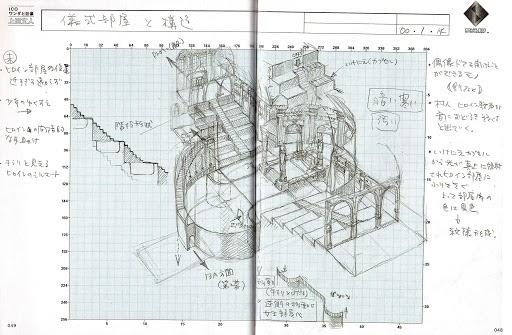 Document de level design dessiné par Fumito Ueda pour le jeu vidéo Ico, Sony Computer Entertainment, 2002