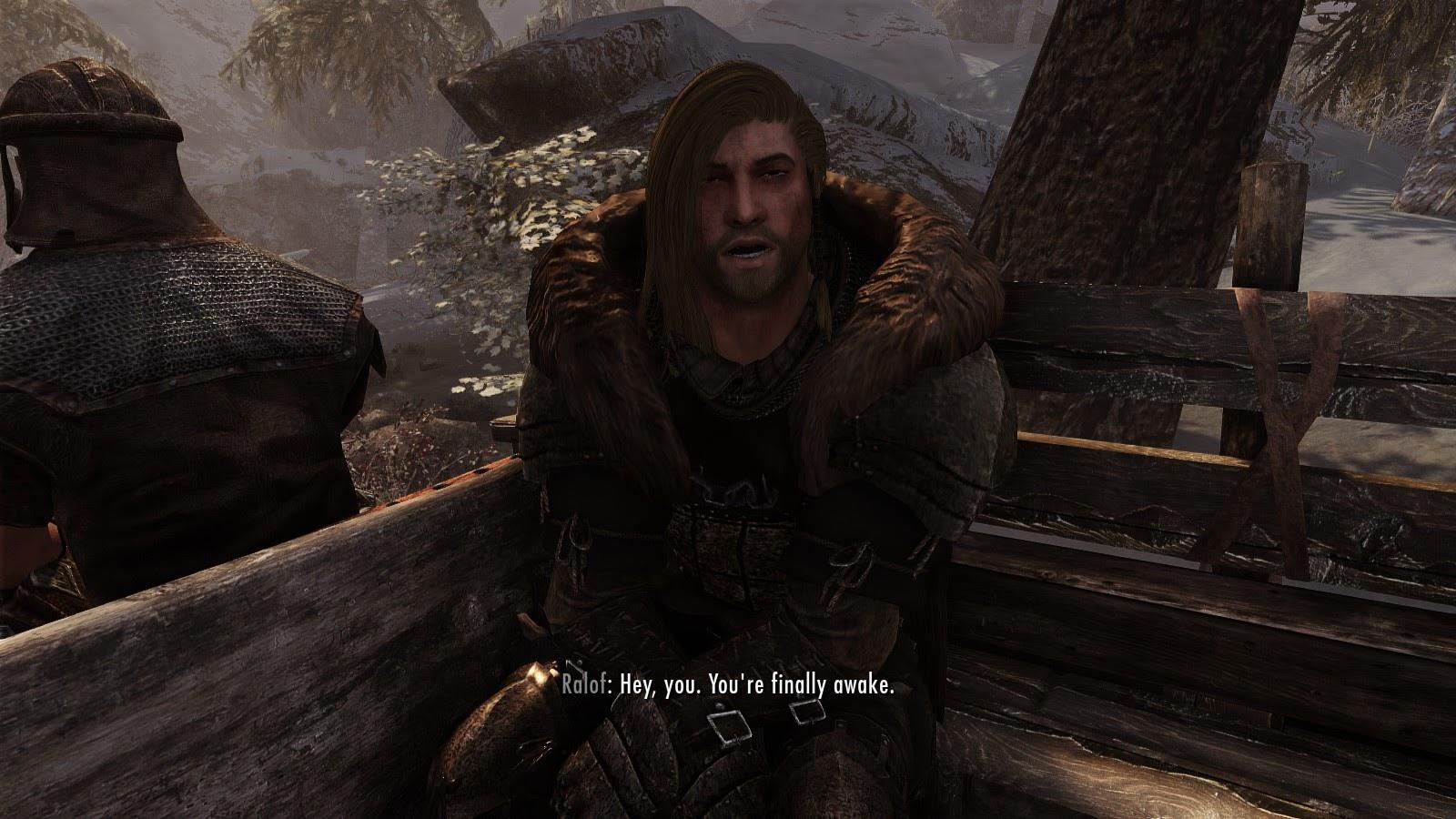 «  Hey, tu es finallement réveillé  », Scène de début du jeu, The Elder Scrolls V: Skyrim (Special Edition), Bethesda Game Studios, 2012