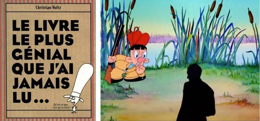 2 images : Couverture du livre intitulé Le livre le plus génial que j'ai jamais lu et image de Duffy Duck and Egghead de Tex Avery