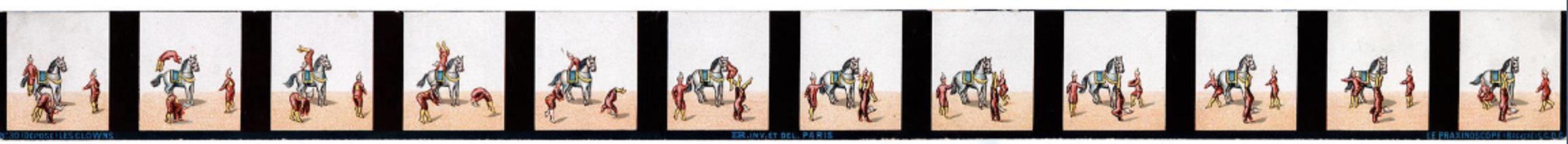 Bande d'un praxinoscope représentant les cabrioles de 3 clowns
