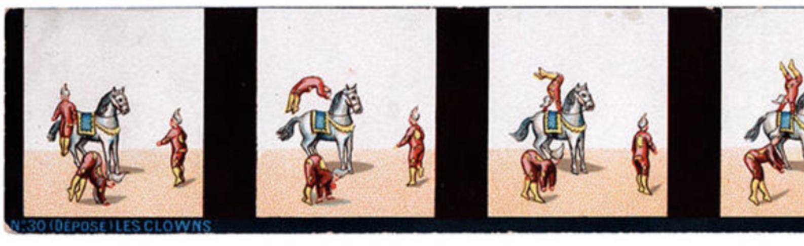 Bande d'un praxinoscope représentant les cabrioles de 3 clowns - détail