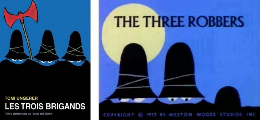 Couverture du livre et photogramme du film Les trois brigands