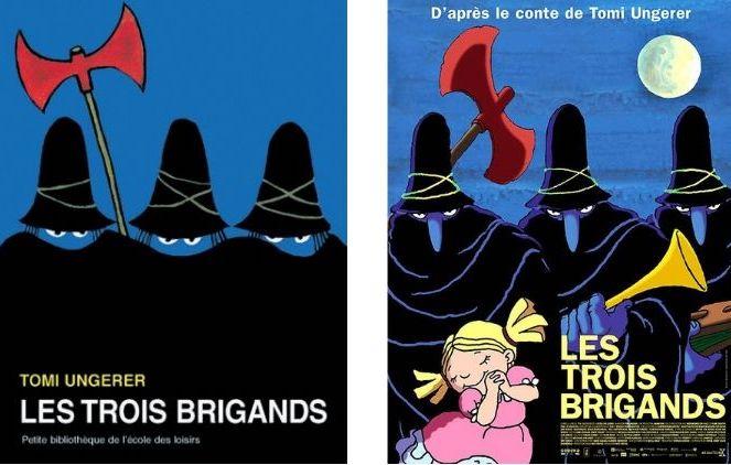 Couverture du livre et affiche du film Les trois brigands