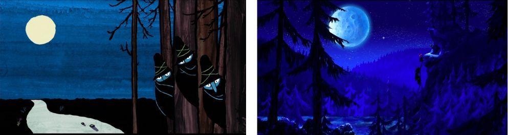 2 photogrammes du film Les trois brigands : paysages de nuit