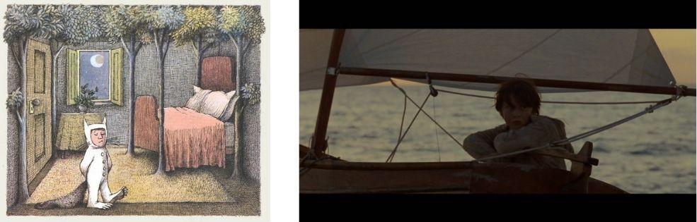 Image tirée de l'album et photogramme tiré du film Max et les Maximonstres