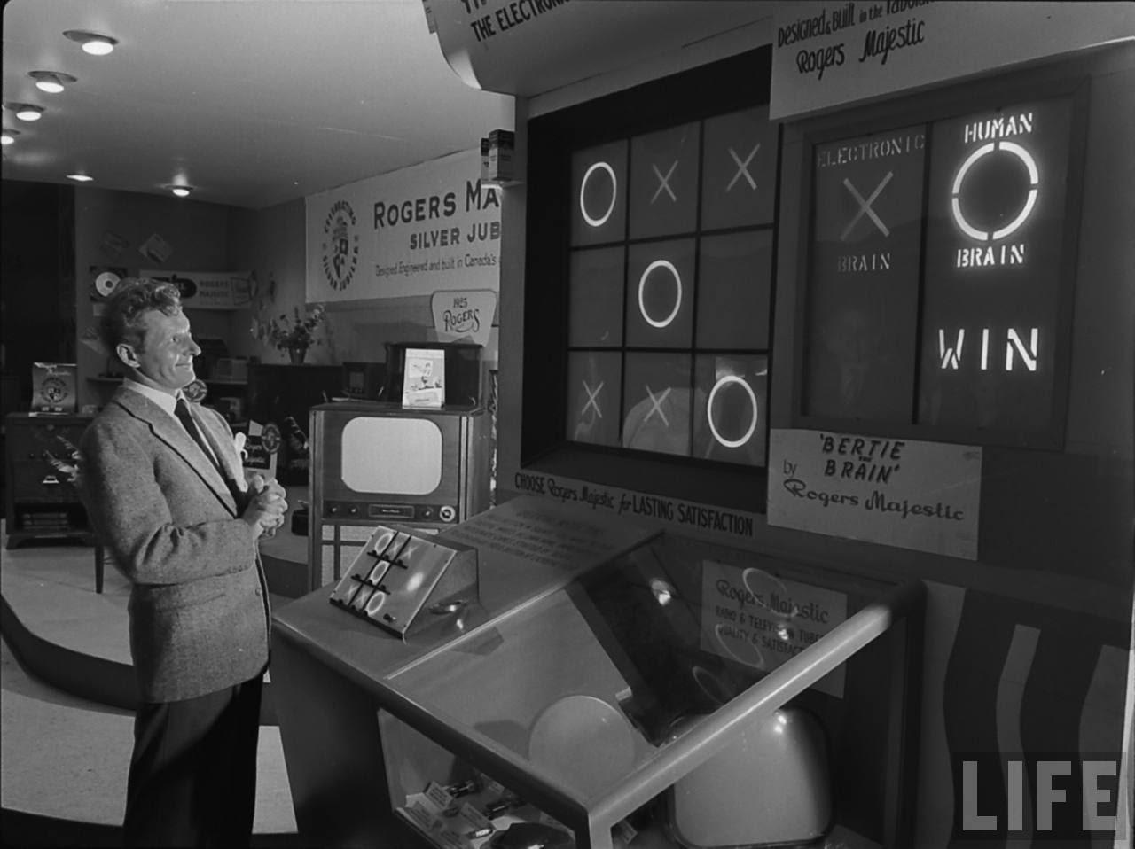 Bertie the Brain, Le comédien Danny Kaye photographié juste après avoir gagné contre la machine, Life, 1950
