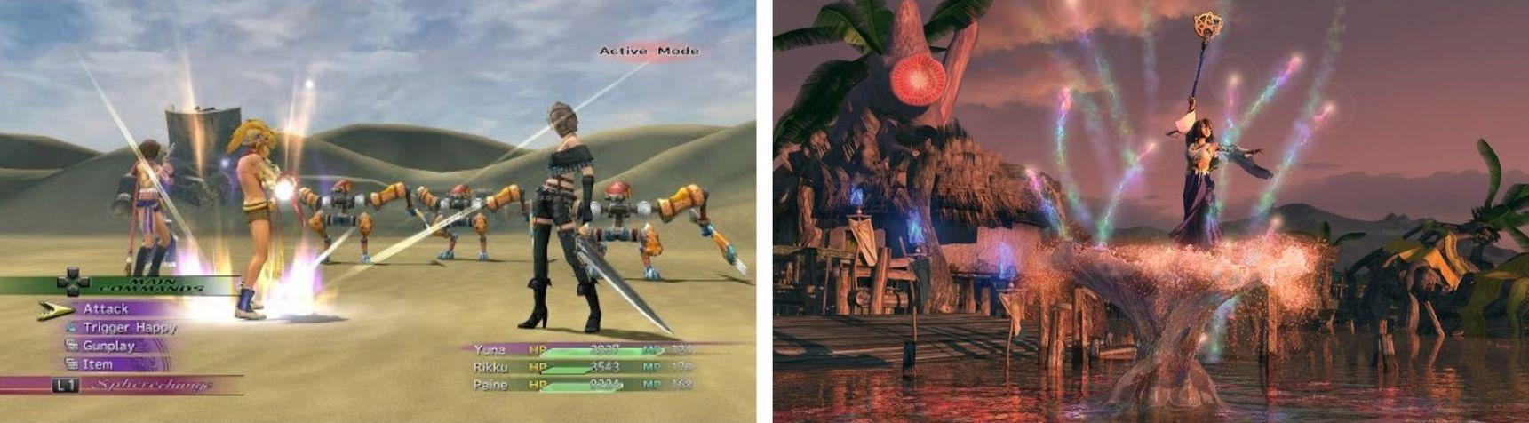 Capture d'un moment de jeu (à gauche) et d'une cinématique (à droite), Final Fantasy X, Squaresoft, 2001
